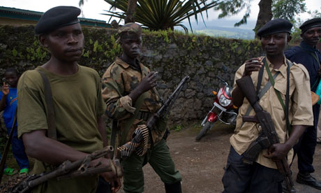 Young CNDP soldiers in the town of Rugare, north of Goma