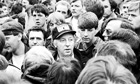 Arthur Scargill among miners at Orgreave