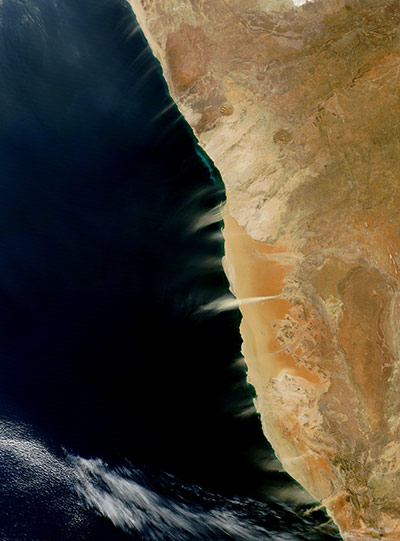 Satellite Eye on Earth:  dust and hydrogen sulfide plumes along the coast of Namibia