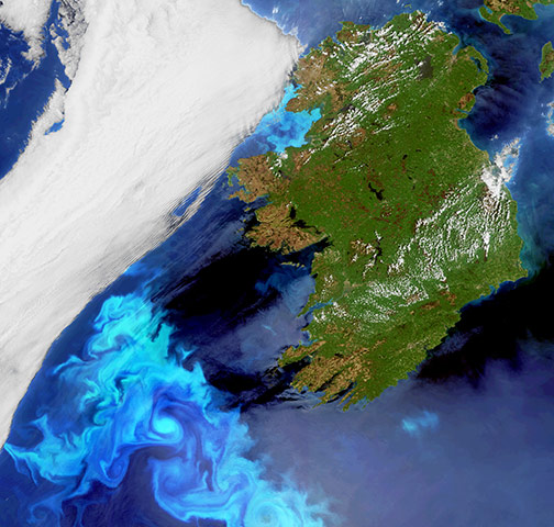 Satellite Eye on Earth: blue-coloured plankton blooms swirl in the North Atlantic Ocean off Ireland