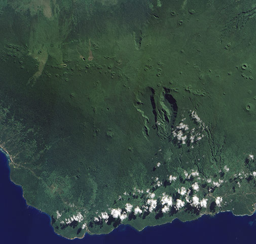 Satellite Eye on Earth:  Savai'i is one of the largest landmasses in Polynesia
