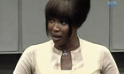 Naomi Campbell testifying at war crimes trial