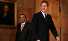 Asif Ali Zardari and David Cameron at Chequers on 6 August 2010.