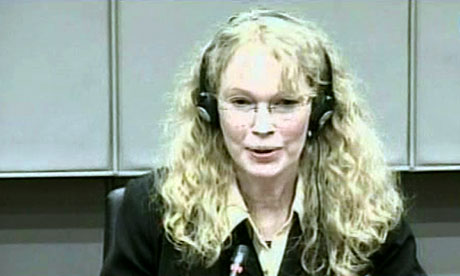 Mia Farrow at the international criminal court in The Hague