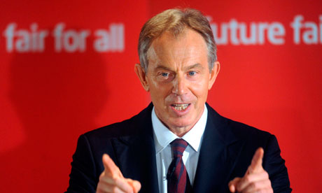 Britain's former PM Blair gestures during his speech at the Labour club in Trimdon, northern England