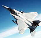 Air-to-air view of an F-15 Eagle aircraft