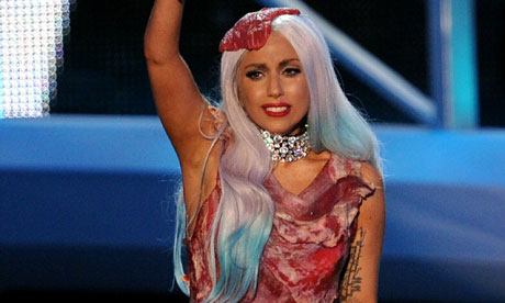 lady gaga meat dresses. lady gaga meat dress real or