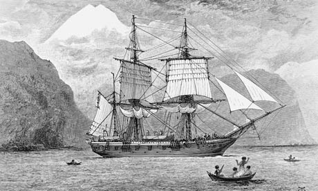 HMS Beagle in Strait of Magellan