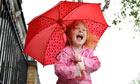 A child using an umbrella