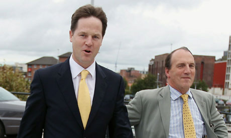 Nick Clegg arrives in Liverpool with Simon Hughes