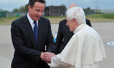 Pope Benedict XVI with David Cameron