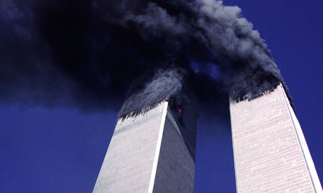 Twin Towers of the WTC Burning