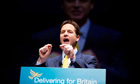 Nick Clegg speaking to Lib Dem conference in Liverpool
