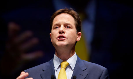 Nick Clegg delivering his keynote speech to the Liberal Democrat conference in Liverpool