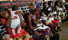 Mothers in Rwanda queue for vaccination against malaria for their babies