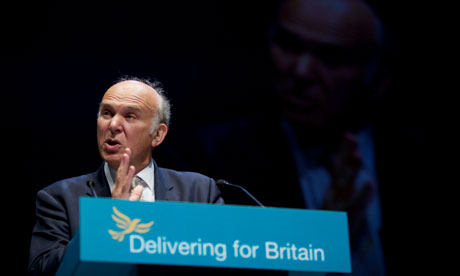 Business secretary Vince Cable addressing the annual Liberal Democrat party conference in Liverpool.