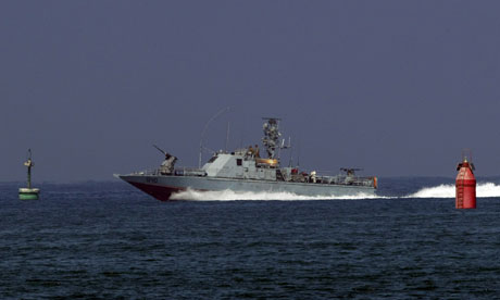 An Israeli army military vessel enters Ashdod
