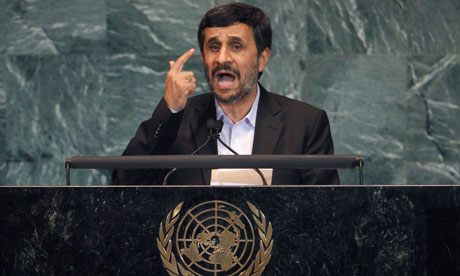 President Mahmoud Ahmadinejad addressing the 65th UN general assembly in New York