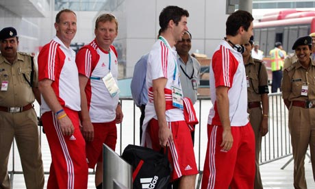 Commonwealth Games athletes and officials from the England team arrive at Delhi airport, India