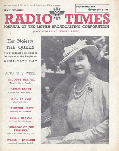 Radio Times Cover - Nov 5th 1939