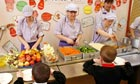 Dinner ladies serving food at Ysgol Deganwy in Conwy, north Wales