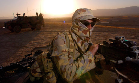 An Australian soldier patrols were a Forward Operating Base in Afghanistan