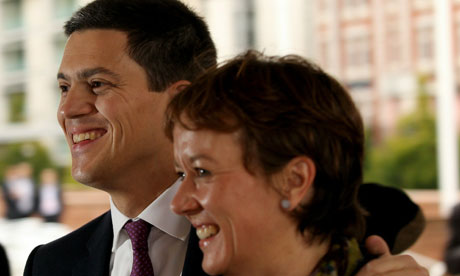 David Miliband and his partner Louise Shackleton in Manchester