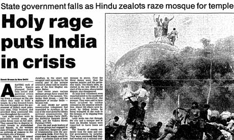 Article on the mosque in Ayodhya from The Guardian, 7 December 1992.