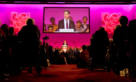 Ed Miliband addresses the Labour conference.