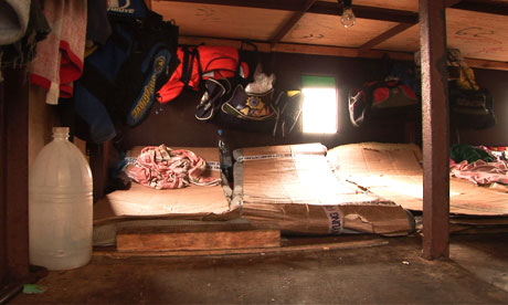Living quarters on illegal fishing vessel often about a meter high (Photo Courtesy of EJF)