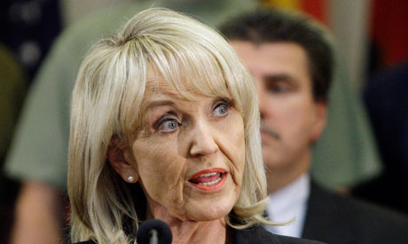 Arizona governor Jan Brewer speaks during a news conference