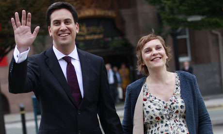 Ed Miliband with partner Justine Thornton in Manchester,
