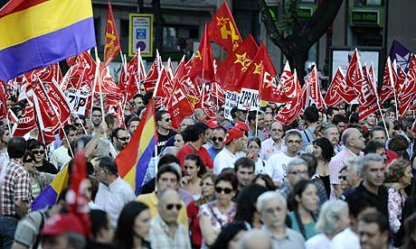 protest during the general strike held in Spain on September 29, 2010 in central Madrid