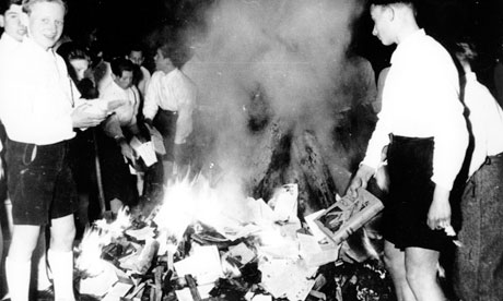Hitler Youth burn 'anti-German' books.