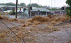 A flash flood in Toowoomba, Queensland.