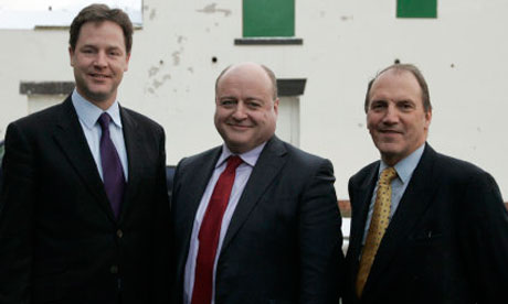 Simon Hughes with Nick Clegg and Elwyn Watkins