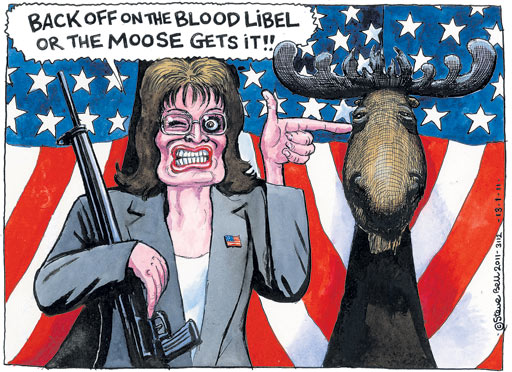 Steve Bell cartoon - Back Off On the Blood Libel Or the Moose Gets It!!