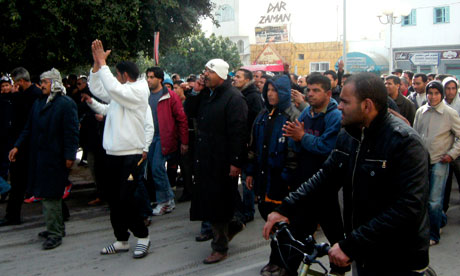 Tunisian demonstrators in Sidi Bouzid