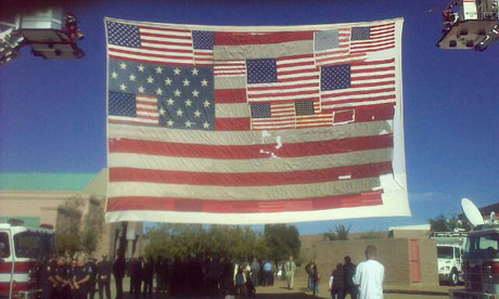 A US flag made of flags from Ground Zero, at the funeral of Christina-Taylor Green 13 January 2011