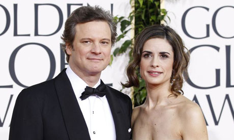 Colin Firth and his wife Livia Giuggioli, Golden Gl