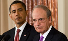 US special envoy to the Middle East, George Mitchell, with President Barack Obama