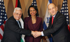 Condoleezza Rice with Ehud Olmert and Mahmoud Abbas