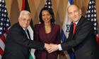 Condoleezza Rice with Ehud Olmert and Mahmoud Abbas