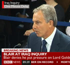 Tony Blair at the Iraq inquiry on 21 January 2011.