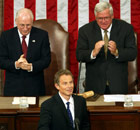 Tony Blair about to address the US Congress in 2003. Dick Cheney