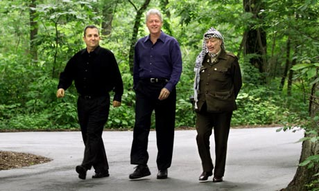 The leaked papers date from the runup to the 2000 Camp David negotiations between Israeli prime minister Ehud Barak (left) and Palestinian leader Yasser Arafat (right) under US president Bill Clinton.