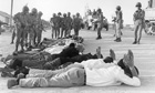 Palestinians surrender to Israeli soldiers in the occupied territory of the West Bank in 1967
