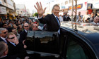 Middle East envoy Tony Blair in the West Bank city of Jenin
