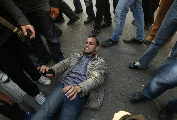 egpyt protests: A wounded demonstrator  