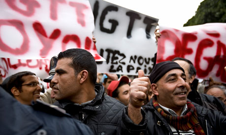 Supporters of Mohamed Ghannouchi during a demonstration in Tunis Tunisia on 25 January 2011
